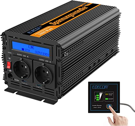 EDECOA Conversor 2000w Inversor 12v 220v 230v 2x USB pantalla LCD y mando a distancia Transformador onda modificada 2000w y pico momentaneo de 4000w ...