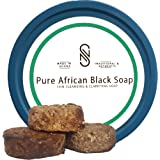 100% Organic African Black Soap| Acne Treatment | For Oily, Blemish-Prone Skin | 1/2lb Non-Messy Container