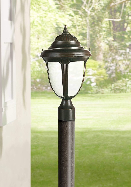 "Casa Sorrento Traditional Outdoor Post Light Fixture Bronze 16 3/4"" Marbleized Glass for Exterior House Deck Garden Yard Porch Driveway - John Timberland"