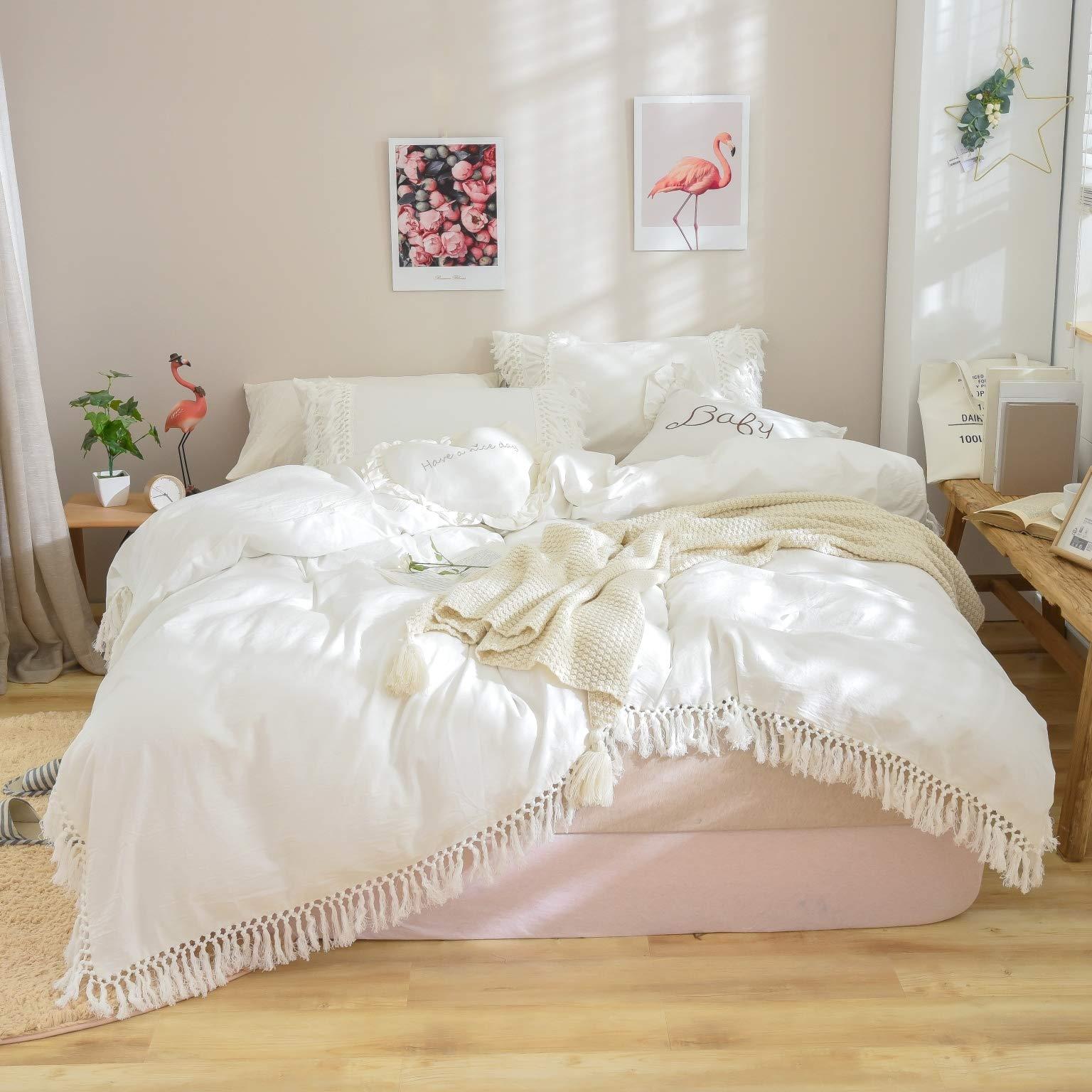Softta Luxury and Elegant White Bedding Twin XL 3 Pcs Tassel Bohemian Duvet Cover 100% Washed Cotton