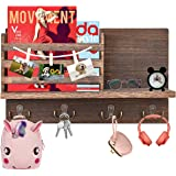 Ekotech Wood Mail Holder for Wall Mounted Mail Holder and Key Holder for Wall with 4 Double Key Hooks and 3 Memo Clips Rustic