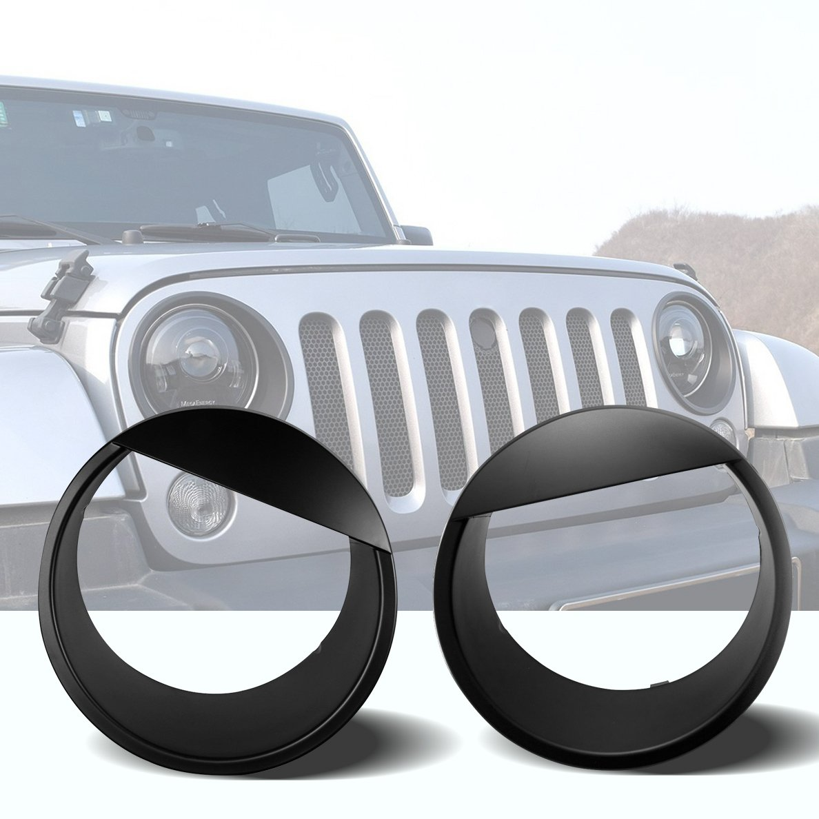IBACP Black Headlight Bezels Trim Cover ABS for 2007-2016 Jeep Wrangler JK