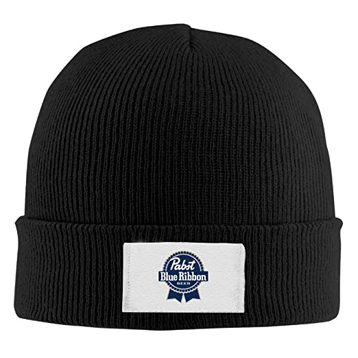 WCSY-HAT Unisex Pabst Blue Ribbon Logo Winter Warm Knit Beanie Skully Cap  Black 24c8a46f4d0