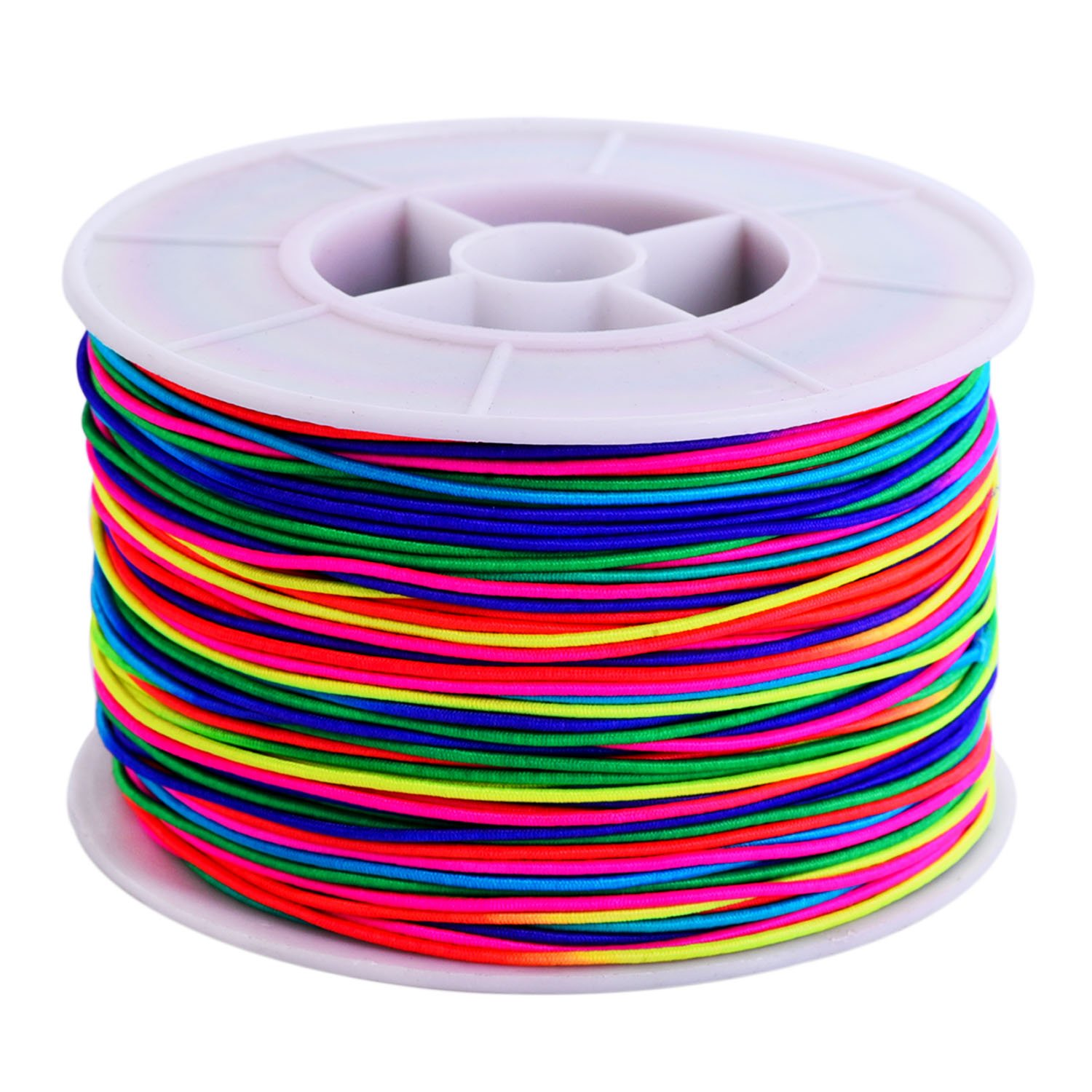 100 m Elastic Cord Beading Thread Stretch Bead String Fabric Craft Cord, 1 mm, Multicolor Outus