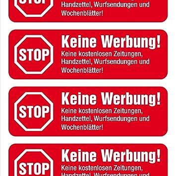 Immi 8 Keine Werbung Aufkleber Rot Einzeln Abziehbar Stop Briefkastenwerbung