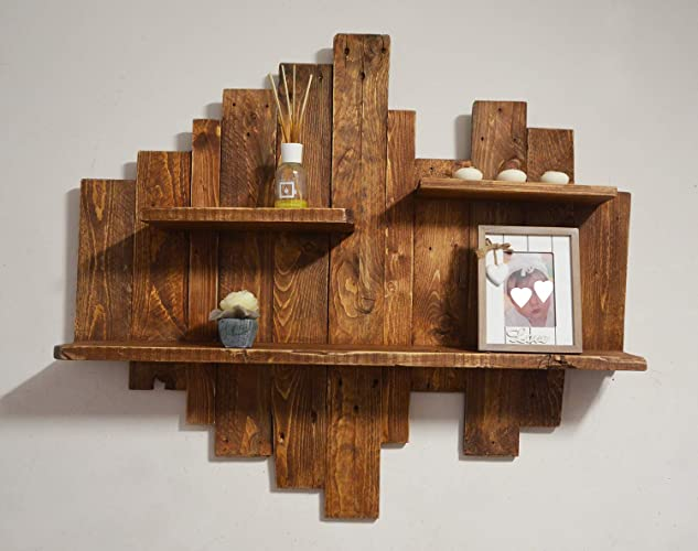 Ripiani In Legno Grezzo : Mensola in legno grezzo riciclato pensile rustico di pallet in