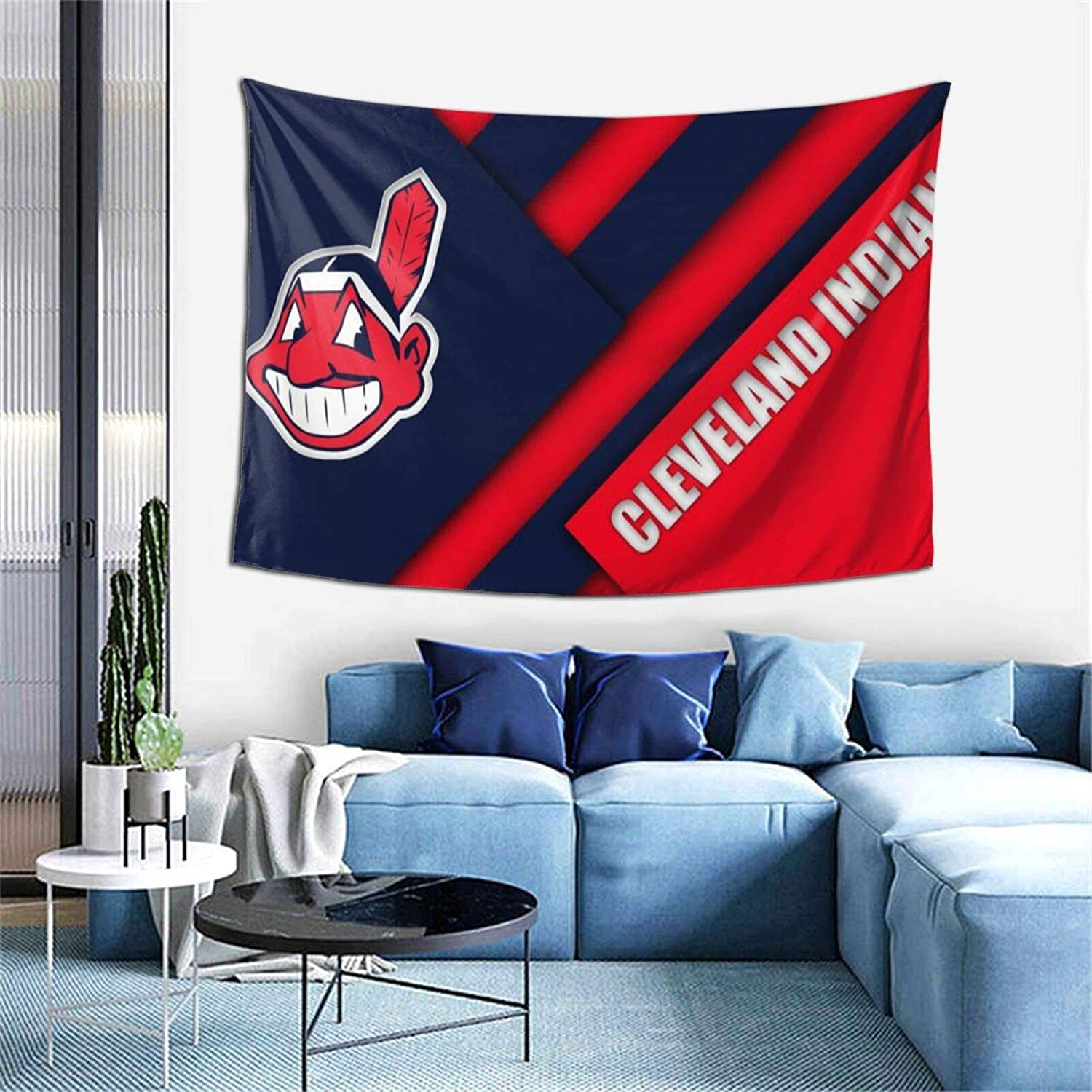 Fremont Die Cleveland Indians Tapestry, Dorm Decor for Living Room Bedroom Wall Art Major League Baseball Artwork Home Decor 40x60 Inches