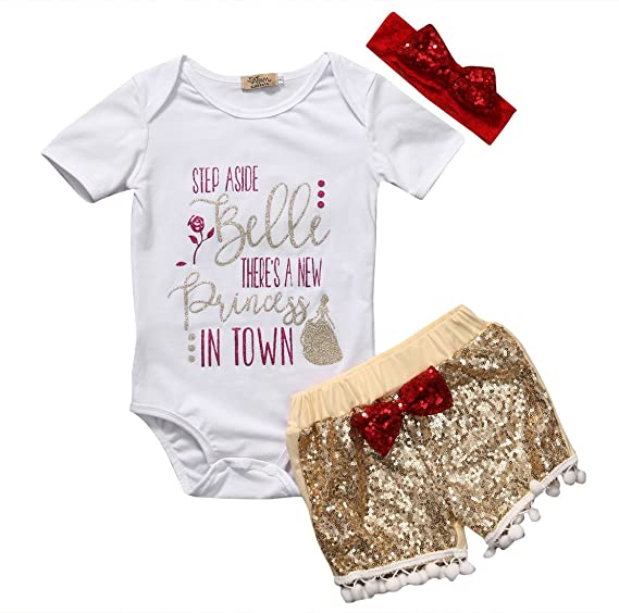 827eaffd4b1 Baby Girl Print Short Sleeve Romper Gold Sequins Pants Bodysuit With  Headband Outfits (60(