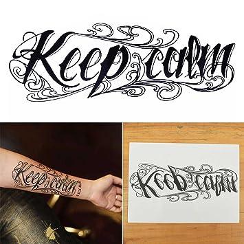 Amazon.com : COKOHAPPY Large Temporary Tattoo, Keep Calm Word : Beauty
