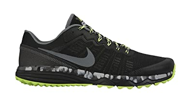 NIKE Men's Dual Fusion Trail 2 Running Shoe Black/Volt/Wolf Grey Size 9.5