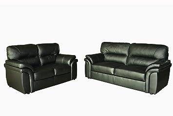 Miami genuine leather sofa suite 3+2+1 in black full leather: Amazon ...