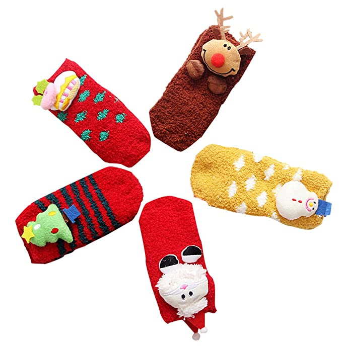Amazon.com: LIUCHENGHANG Christmas Baby Socks 5-Pack Warm Crew Sock Cute Cartoon Gift 1-2 years: Clothing