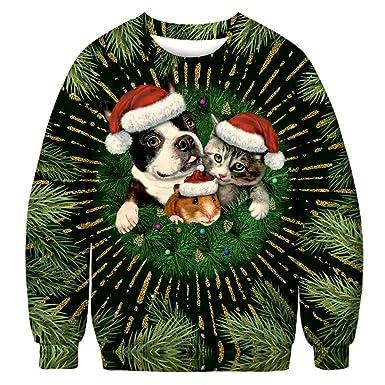 Suéter Casual Delgado cálido para Hombre otoño e Invierno Modelos de Navidad Modelo de Animal Impreso en 3D de Gran tamaño suéter de Manga Larga Jersey: ...