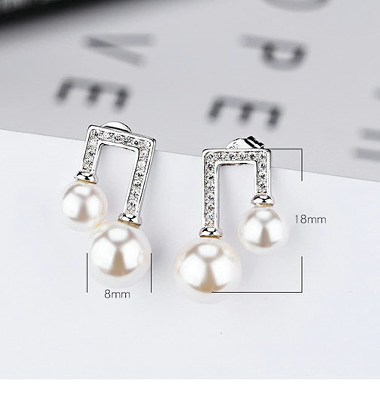 EoCot Gold Plated Earring Double Pearls with Zirconia White Stud Earrings for Women