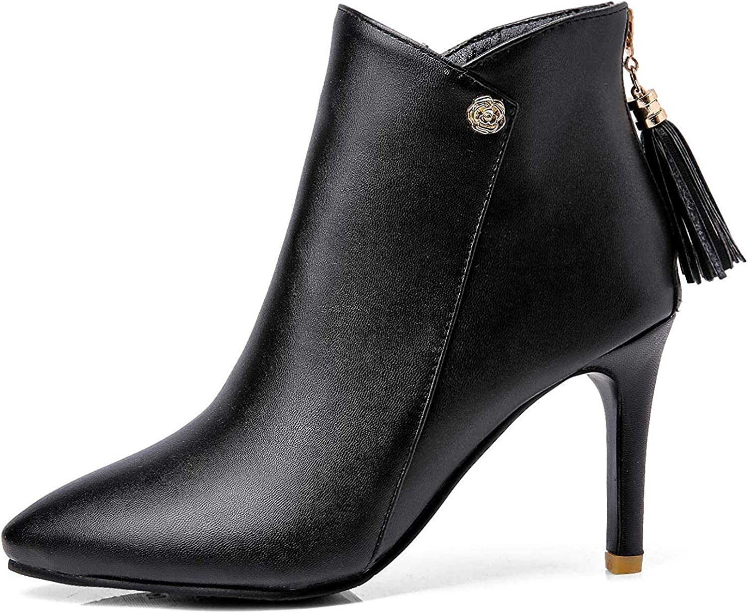Unm Womens Chic Tassels Pointed Toe Dress Booties Zip Up Stiletto High Heel Ankle Boots with Zipper
