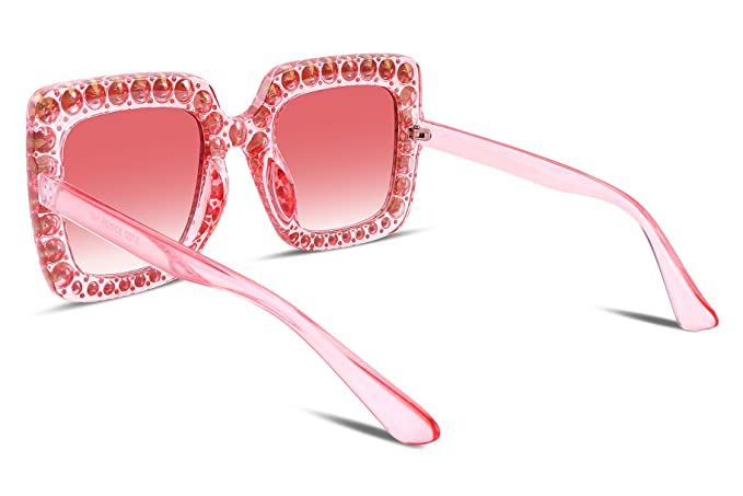 227f8cdcb5502 Amazon.com  FEISEDY Women Sparkling Crystal Sunglasses Oversized Square  Thick Frame B2283  Clothing