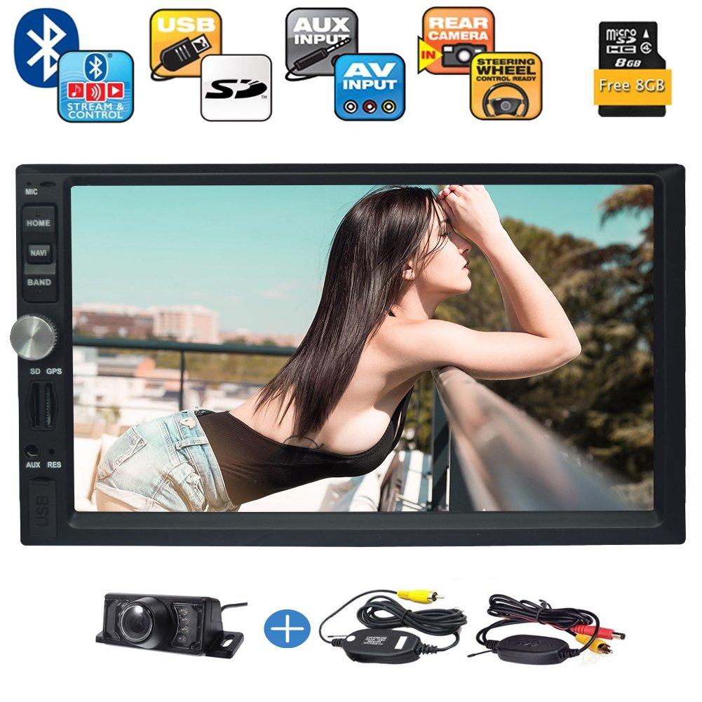 最新ダブルディンAutoradioタッチスクリーン/ブルートゥースハンズフリーコール/ 7インチLCDモニター/ USB /マイクロSDカードスロット/ AM FMラジオ/ AUX入力/ダッシュカーステレオ+無料Wrielessリアカメラ(含まれていない日本地図)で B07C78BC1C