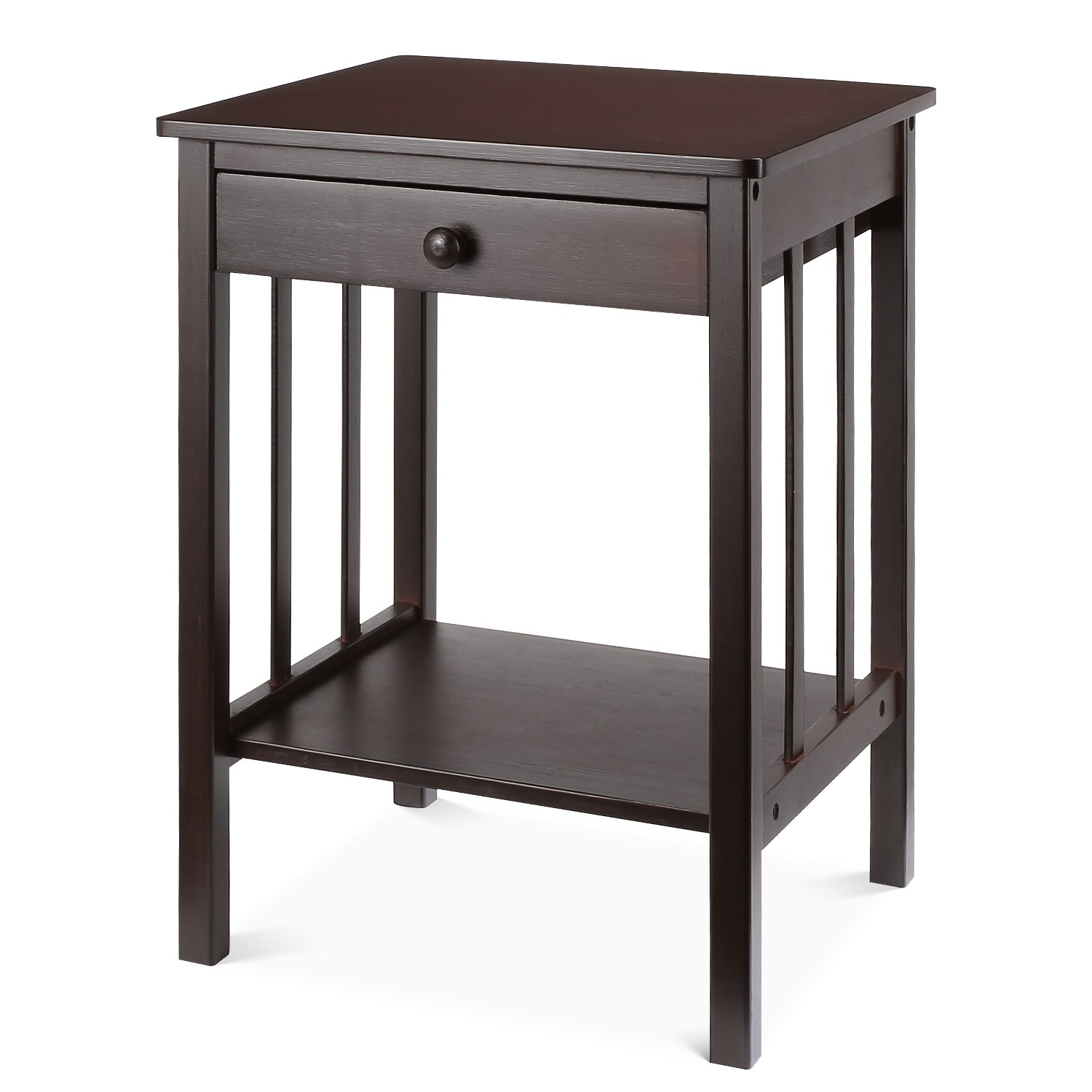 Homfa Bamboo Night Stand End Table with Drawer and Storage Shelf Multipurpose Home Furniture, Dark Brown by Homfa