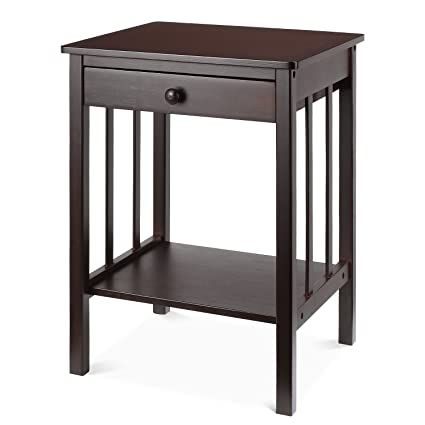 HOMFA Bamboo Night Stand With Drawer And Shelf Storage Multipurpose End  Side Table Home Furniture,