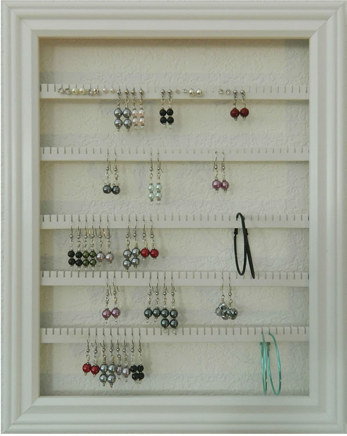 Earring Holder Organizer Storage Jewelry Rack - Wall Mounted Picture Frame Hanging Jewelry Display - Available in 4 Colors - White, Large