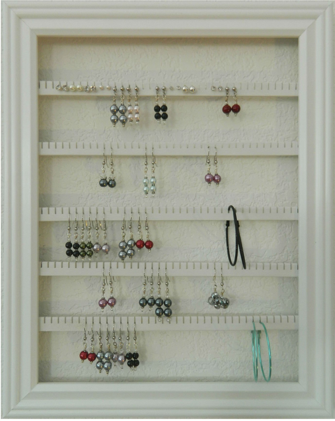 Earring Holder - Holds 100 pair - Made with a 10''x13'' Picture Frame - Wall Mounted - Available in 4 Colors – White