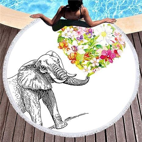 SHASHA Toallas De Playa Ronda Flores Elefante Playa Toalla De Arena Prueba Manta Arena Playa Esterilla