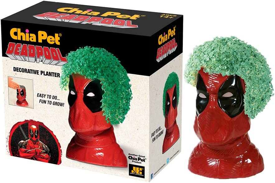 Chia Pet Marvel Deadpool with Seed Pack, Decorative Pottery Planter, Easy to Do and Fun to Grow, Novelty Gift, Perfect for Any Occasion (CP405A08)