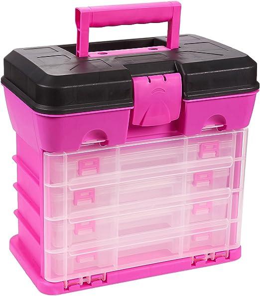 Juvale Caja de almacenamiento y herramientas, Caja organizadora duradera con 4 cajones, 13 compartimentos para accesorios de pesca, cuentas y manualidades (rosa): Amazon.es: Hogar
