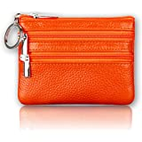 Sherry Kates Genuine Leather Coin Purse With Zipper Pouches And Keyring