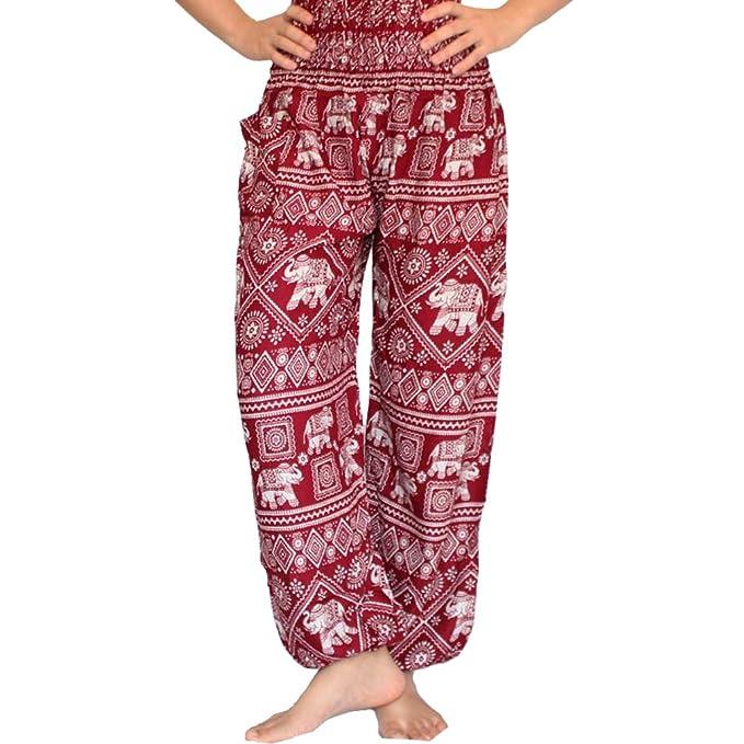 86ac44f06 Amazon.com  Nifty Thai Cotton Elephant Pants for Yoga and Harem Boho Style  Women s Smocked Waist (Black)  Clothing