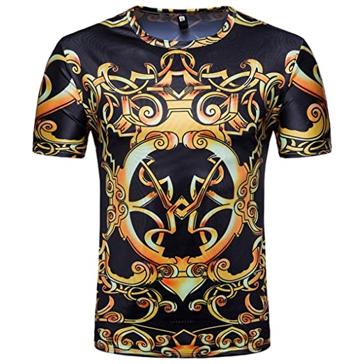 ab55ce31fdbba iHPH7 Mens Blouse Casual Print O Neck Pullover Short Sleeve T-Shirt ...