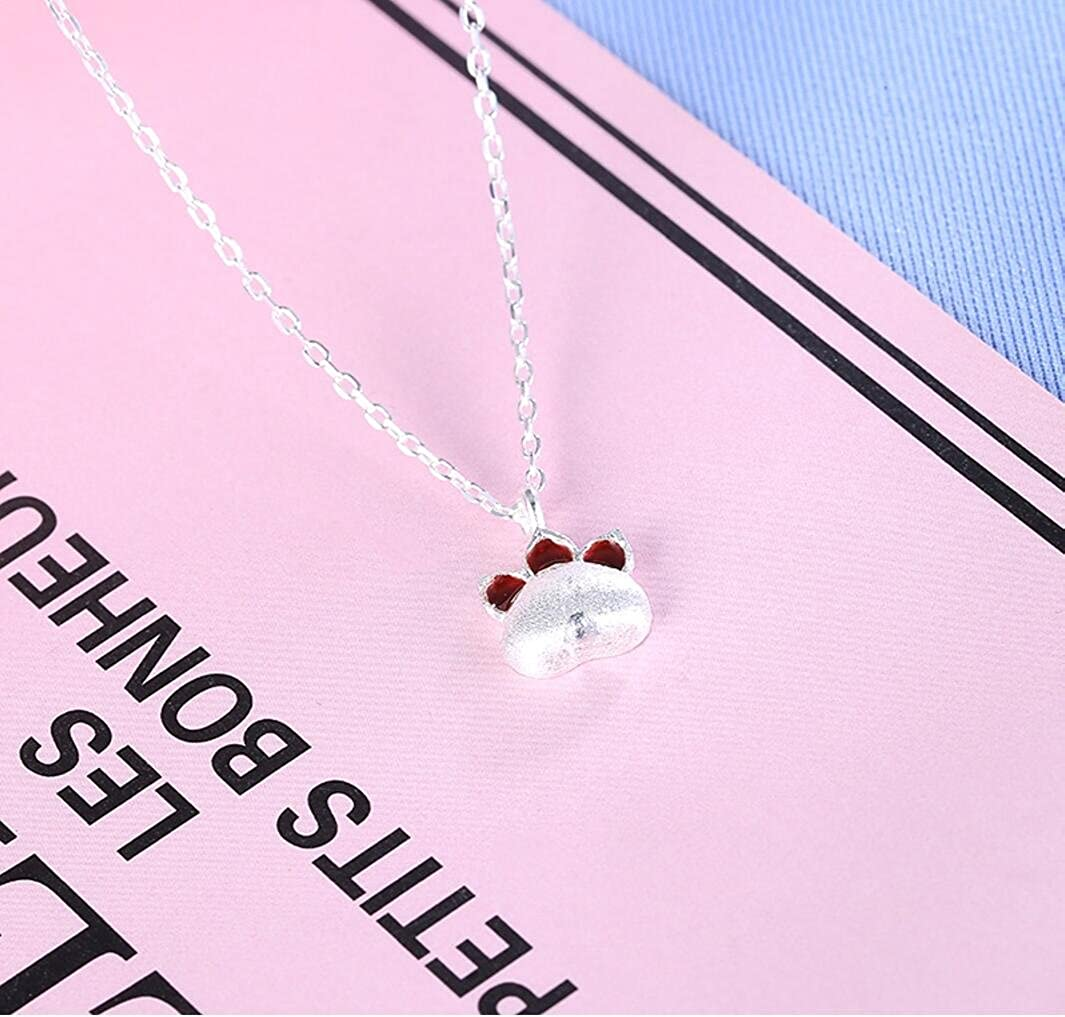 18 AFSSHOPPING Cute 925 Sterling Silver Paw Charm Necklace