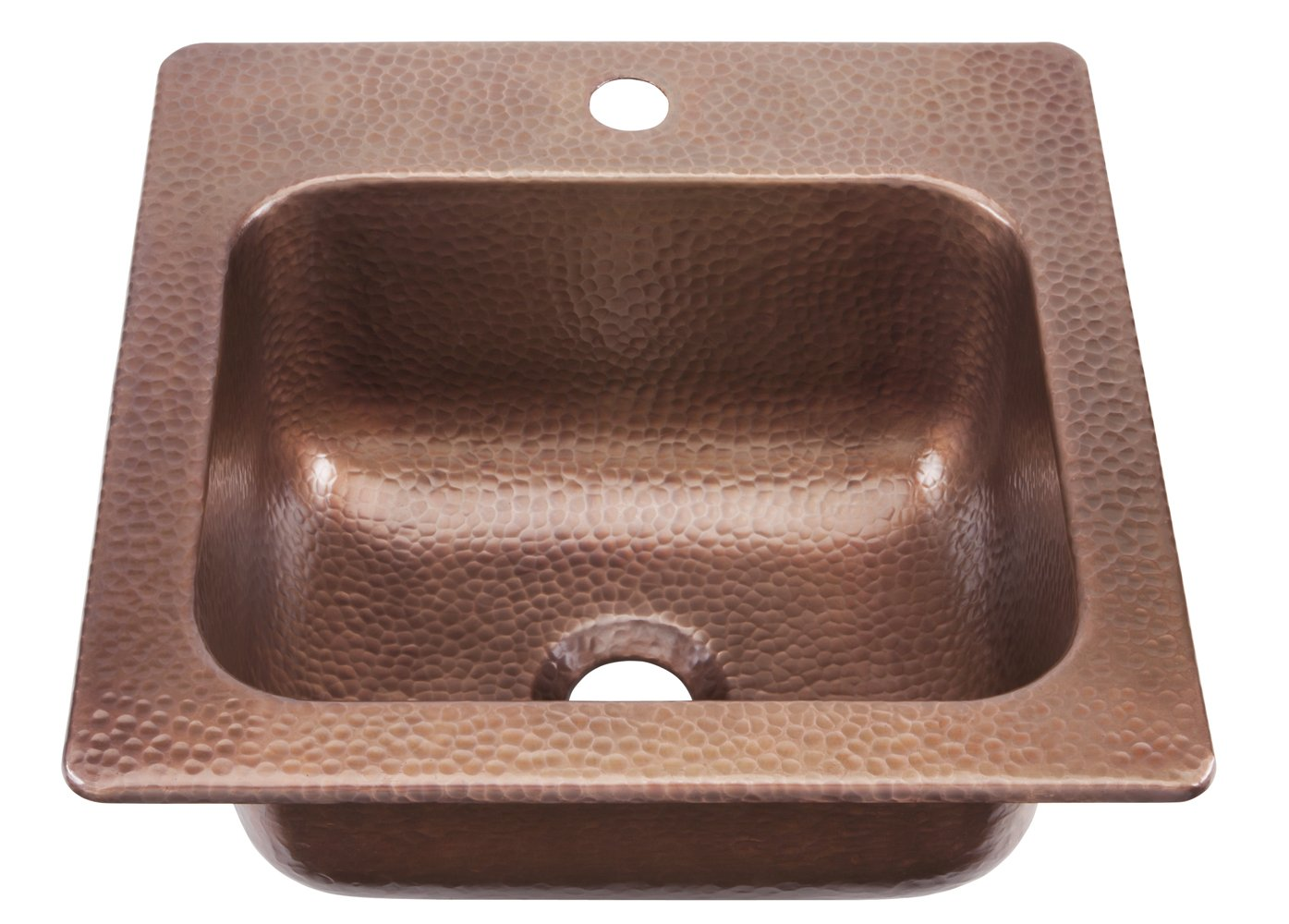Sinkology KPD 1515HA Seurat Drop In Handmade Pure Solid Copper 15 In.  1 Hole Bar Copper Sink In Antique Copper   Bar Sinks   Amazon.com