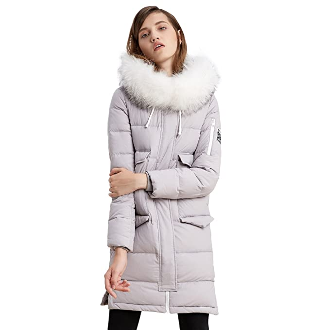 ce7ccb0fc Amazon.com: BOSIDENG Women's Winter Down Jacket Real Fur Hooded ...