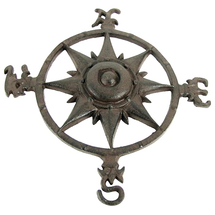 Rustic Cast Iron Rose Compass Nautical Beach House Wall Art Outdoor Garden Decor