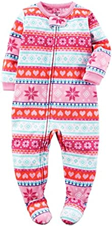 cf312cf7c7 Amazon.com  Carter s Girl s 4T Winter Pink Fair Isle Fleece Footed ...