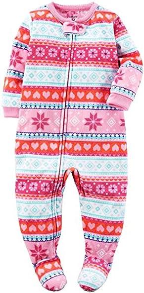 Amazon.com: Carter's Girl's 5T Winter Pink Fair Isle Fleece Footed ...