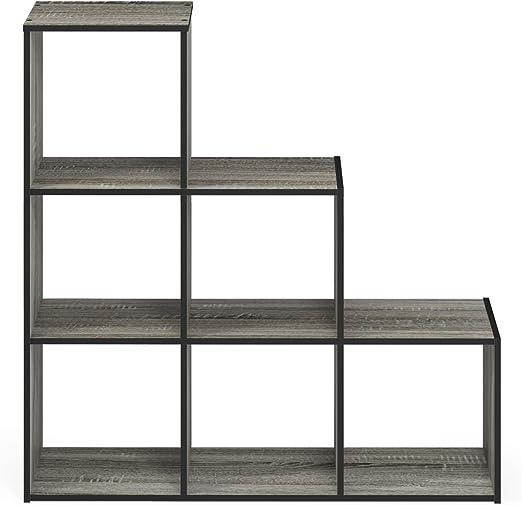 French Oak Grey//Black Furinno Pelli 3-2-1 Cubic Storage Cabinet