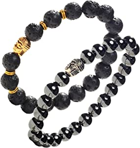 Earth Therapy Buddha Root Chakra Bracelet Set - Gold Plated Volcanic Lava and Hematite Healing Bracelets - Adjustable - for Men, Women and Yogis - Gift Set of 2