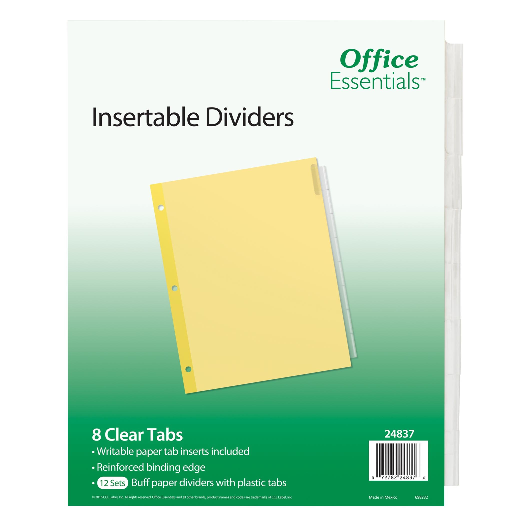 Office Essentials Insertable Dividers, 8-1/2'' x 11'', 8 Tab, Clear Tab, Buff Paper, 12 Pack (24837)
