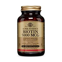 Solgar Biotin 5000 mcg, 100 Veg Caps - Promote Healthy Skin, Nails & Hair - Supports...