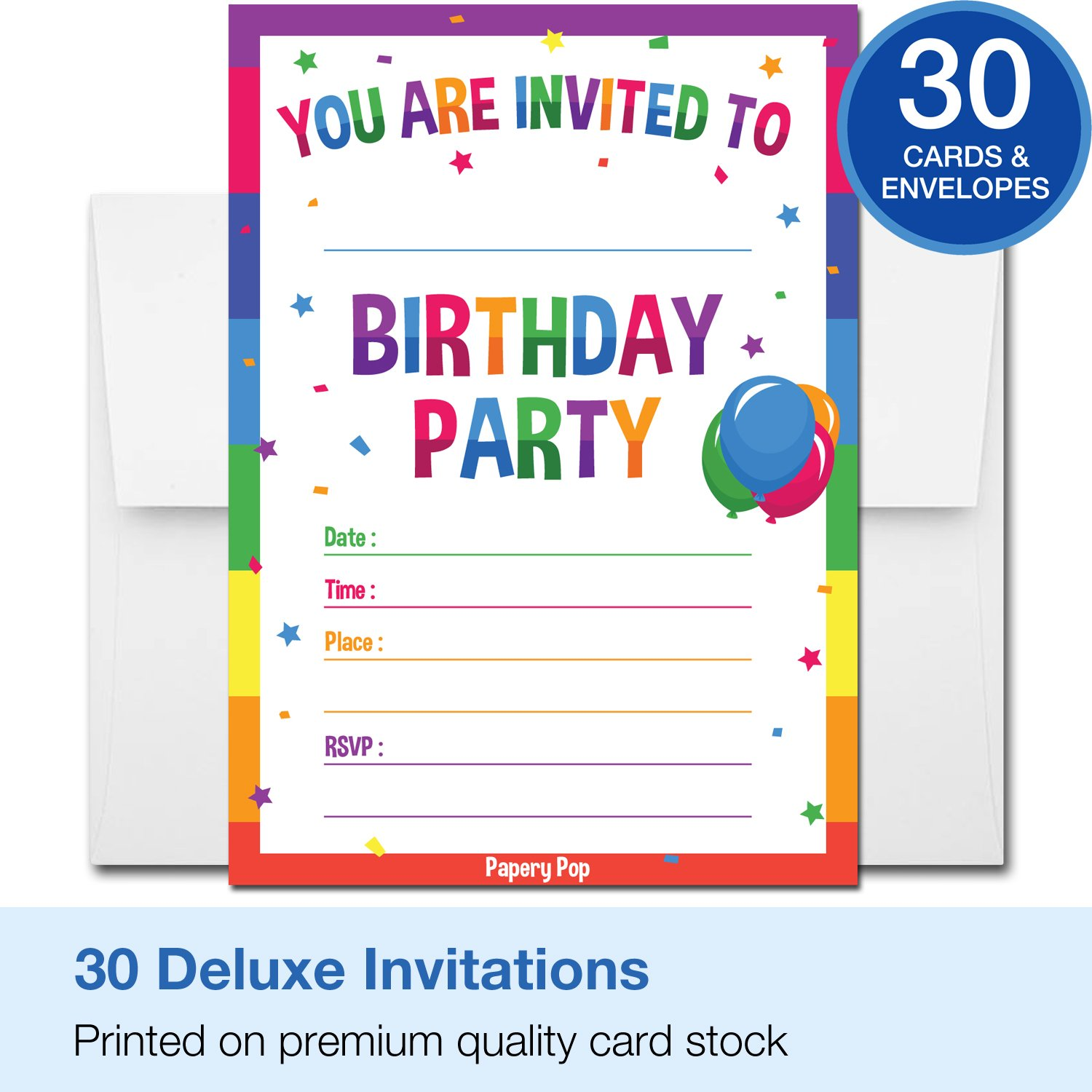 Amazon.com: 30 Birthday Invitations with Envelopes (30 Pack) - Kids ...