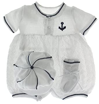 f9643148e Amazon.com: BABY BOYS WHITE & NAVY KNIT SAILOR Outfit & Hat Set ...