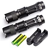 2 set of 2000 Lumen Flashlight Torch Zoomable CREE XM-L T6 LED 18650 Tactical with Battery and Charger