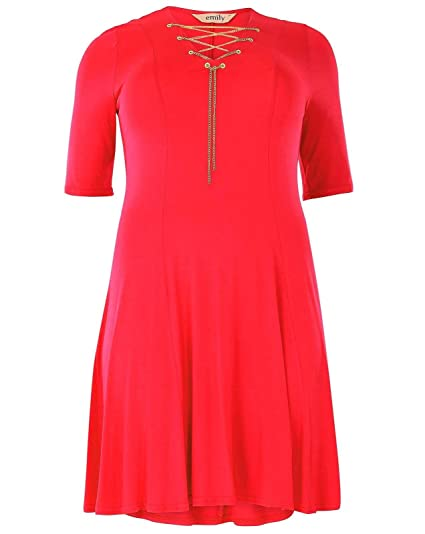 New Red Gold Chain Skater Dress Plus Size Emily for Simply Be