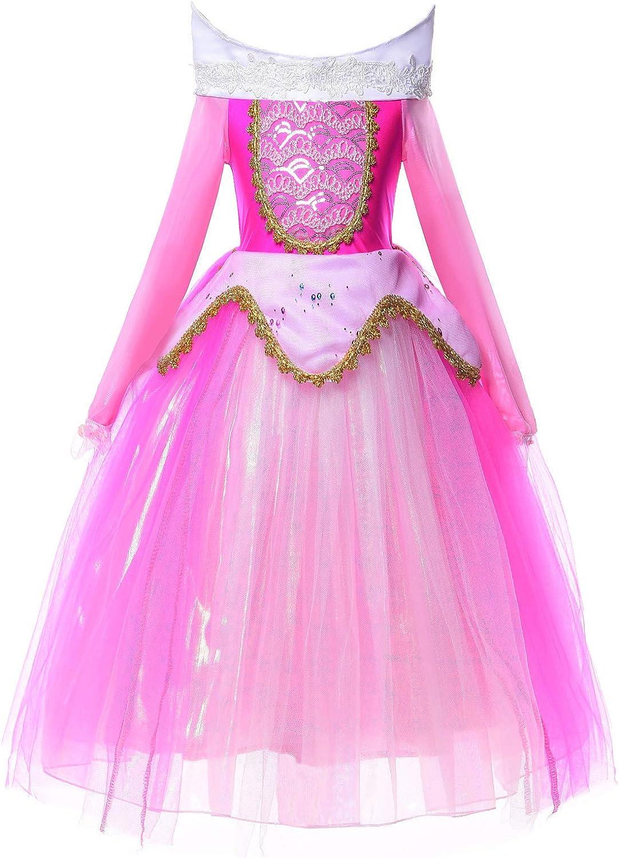 JerrisApparel Niña Princesa Aurora Disfraz Vestir Bella Durmiente Vestito