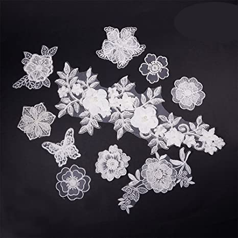 WHITE LACE FLOWERS TRIM EMBROIDERED IRON ON APPLIQUE PATCH
