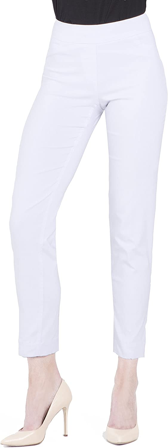 Vincenté Womens Clothing- Stretch Pants for Women - Womens Pull On Ankle Pants with Stretch Band Waist and Tummy Control