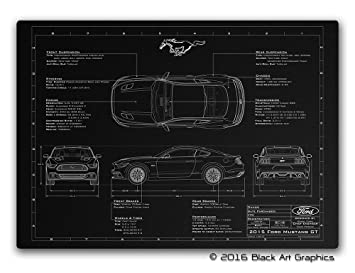 Black art graphics 2015 ford mustang laser engraved blueprint black art graphics 2015 ford mustang laser engraved blueprint small a3 420 malvernweather Gallery