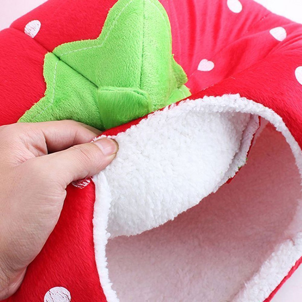 Daycount® Warm Soft Majestic Foldable Dog Cat Tent Bed Animal Cave Puppy Cute Pet Cat House 5 Sizes (Large, Strawberry) by Daycount® (Image #4)